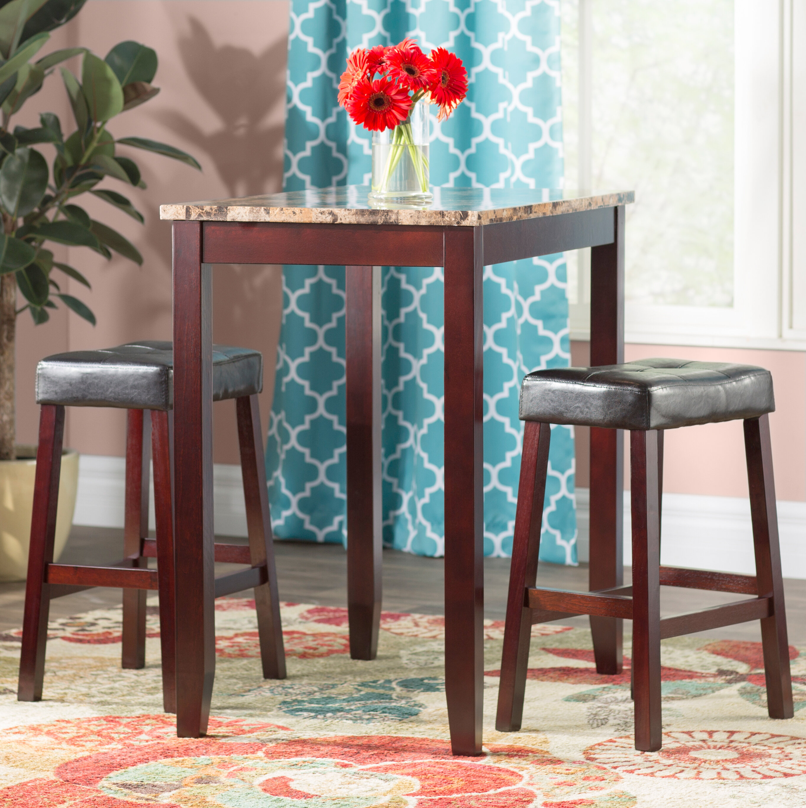 Andover Mills Daisy 3 Piece Counter Height Pub Table Set & Reviews ...