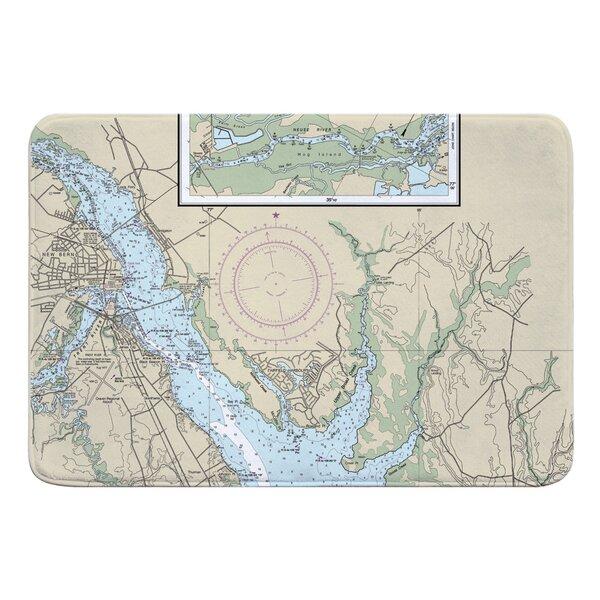 Nautical Chart New Bern NC Rectangle Memory Foam Non-Slip Bath Rug