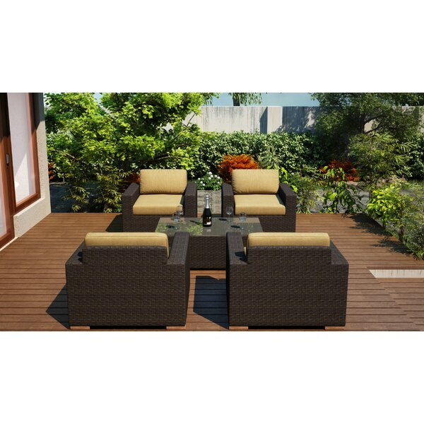 Hodge 5 Piece Conversation Set with Cushions by Rosecliff Heights