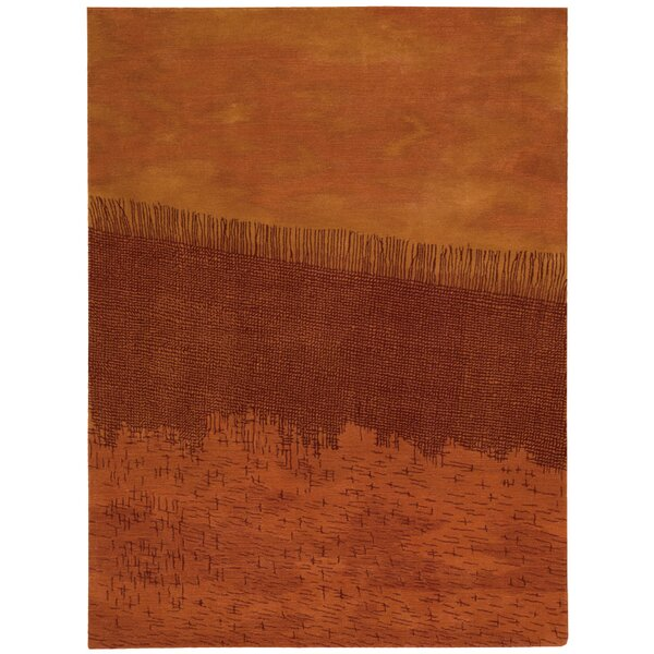 Luster Wash Hand Woven Wool Orange Area Rug by Calvin Klein
