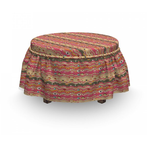 Eye Wavy Lines Groovy Hippie 2 Piece Box Cushion Ottoman Slipcover Set By East Urban Home