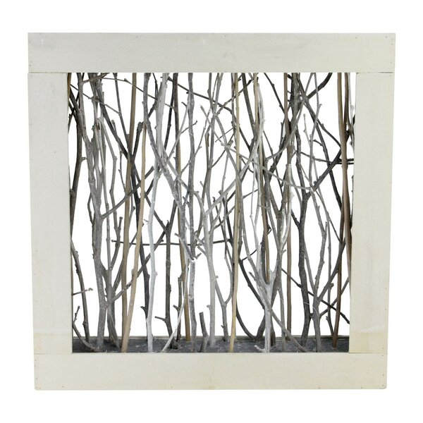 Hanson Thin Standing Birch in Wood Frame Table Top Sculpture by Union Rustic