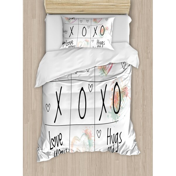 Xo Love You Hugs Kisses Splashes Heart Icon Valentines Artwork Duvet Set by East Urban Home