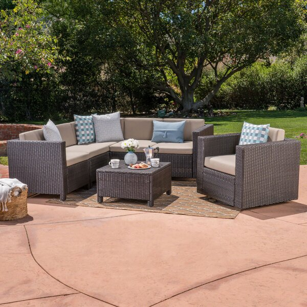 Furst 6 Piece Rattan Sectional Set with Cushions by Wade Logan Wade Logan