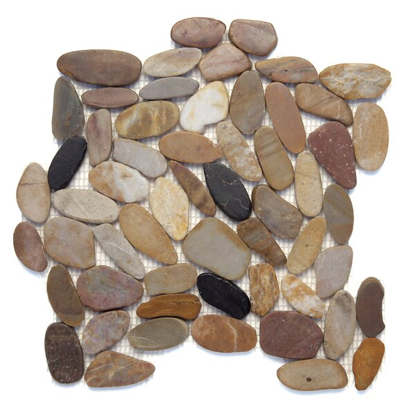 Koja Sliced Random Sized Natural Ston Pebble Tile in Anaconda by Solistone