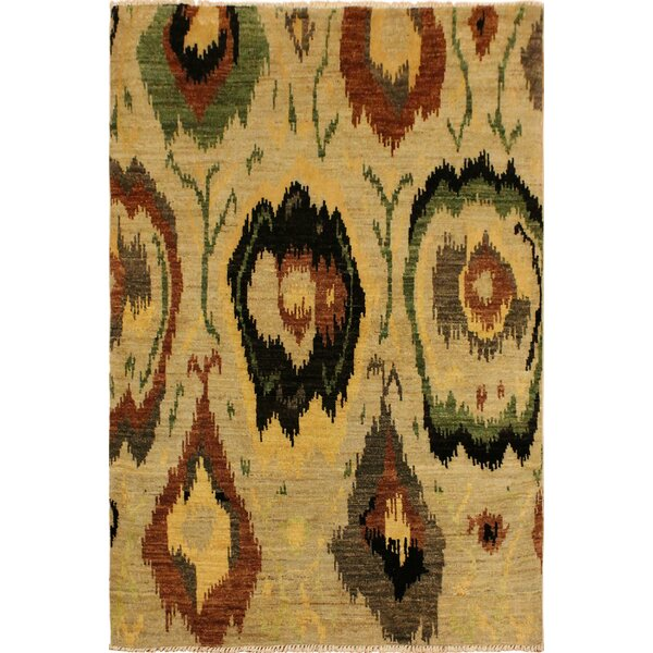 One-of-a-Kind Lutz Hand Knotted Wool Tan/Black Area Rug by World Menagerie