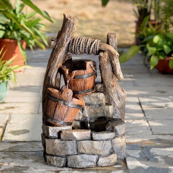 Resin/Fiberglass Tree Trunk and Pots Water Fountain by Jeco Inc.