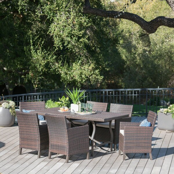 Rick Outdoor Wicker Rectangular 7 Piece Dining Set with Cushions by Darby Home Co