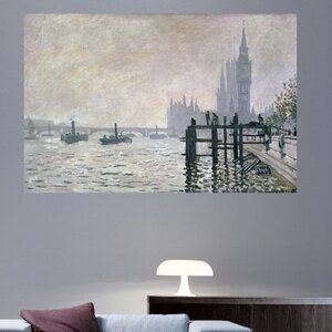 1871 'The Thames Below Westminster' by Claude Monet Print Poster by Charlton Home
