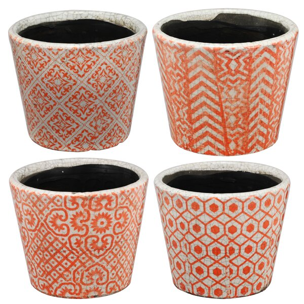 4 Piece Terracotta Pot Planter Set by A&B Home