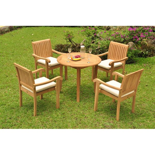 Kimberly Luxurious 5 Piece Teak Dining Set by Rosecliff Heights