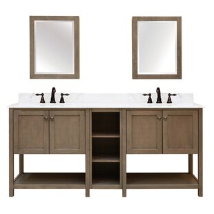 Aiden Bath 2 Shelf Modular Component For Double Bathroom Vanity Base