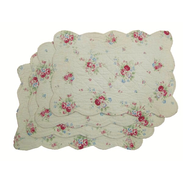 Quilted Floral Placemat (Set of 4) by Textiles Plus Inc.