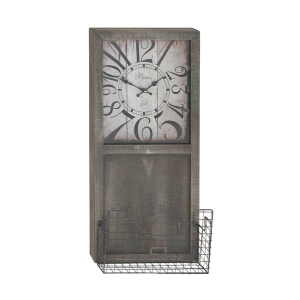 Everson Rustic Rectangular Wall Clock with Storage Basket by Gracie Oaks