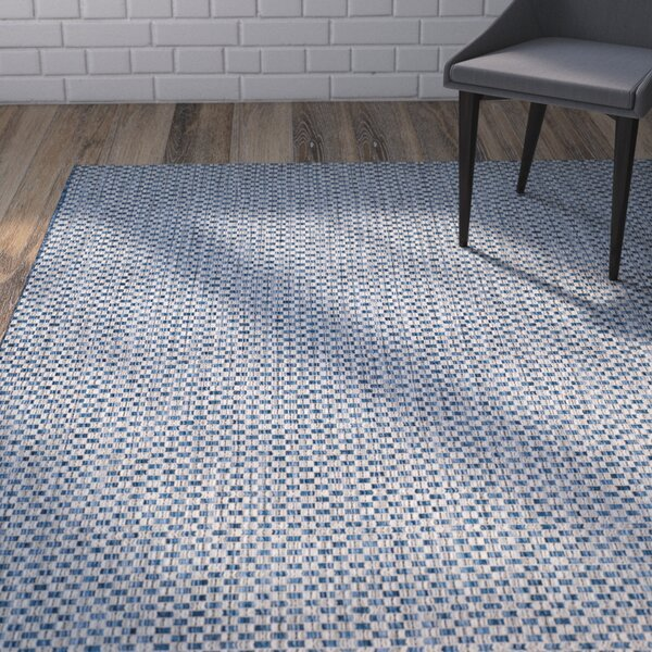 Jefferson Place Light Blue/Light Grey Outdoor Area Rug by Wrought Studio