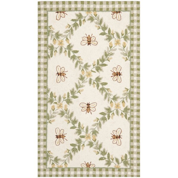 Littell Ivory/Green Bumblebee Area Rug by August Grove