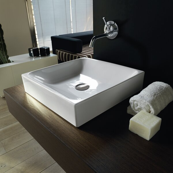 Cento Ceramic Ceramic Square Vessel Bathroom Sink by WS Bath Collections