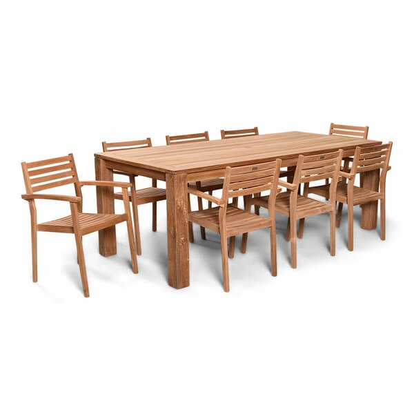 Culbertson 9 Piece Dining Set Teak with Sunbrella Cushions by Highland Dunes