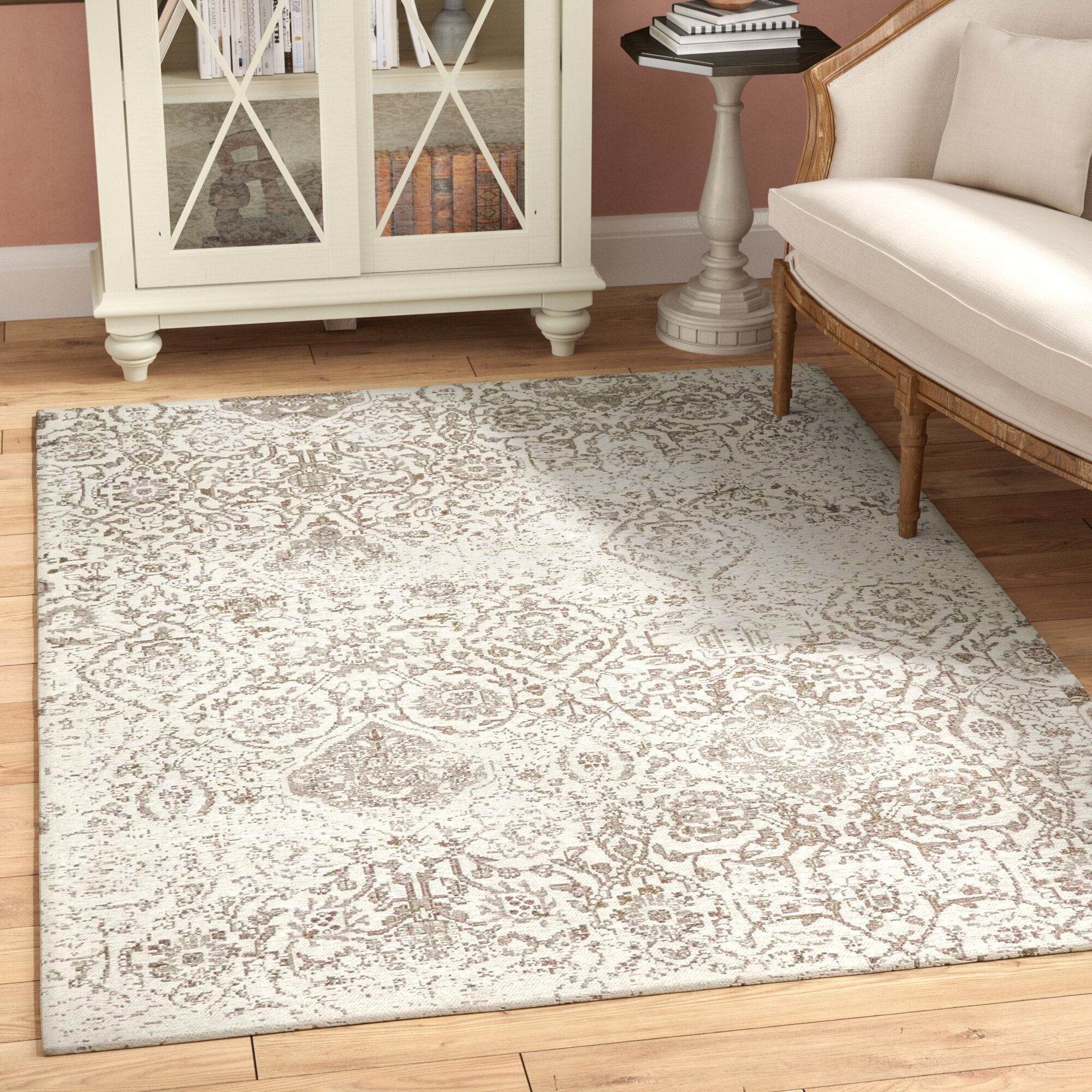 The Twillery Co Orourke Damask Ivory Light Taupe Dark Taupe Area Rug Reviews Wayfair