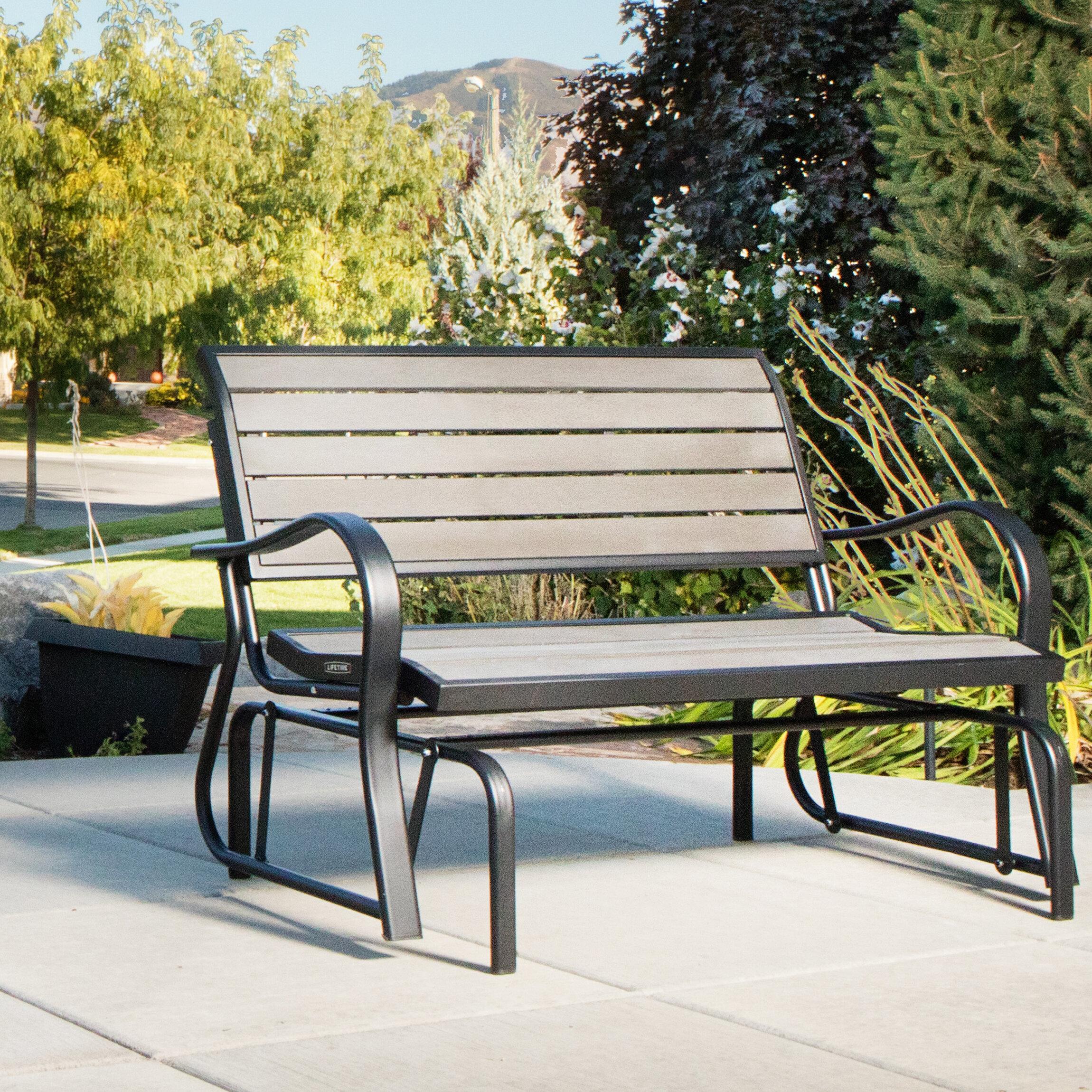 Wondrous Lifetime Steel Glider Bench Reviews Wayfair Machost Co Dining Chair Design Ideas Machostcouk