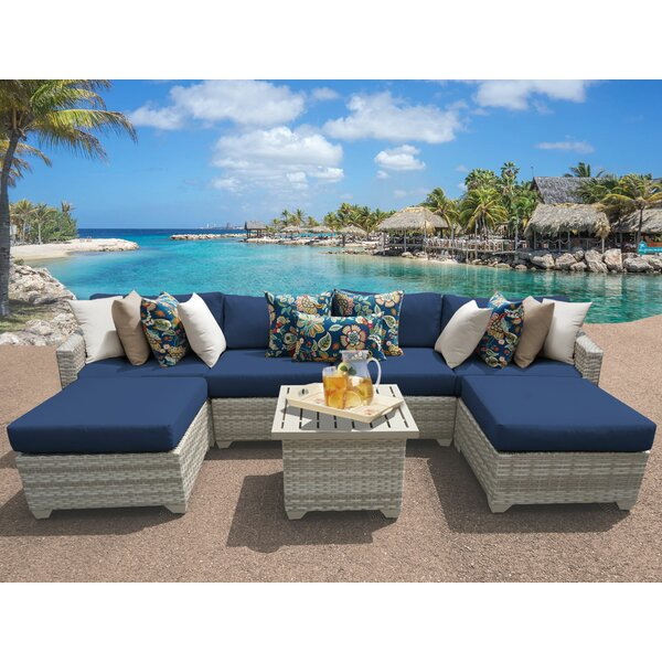 Ansonia 7 Piece Rattan Sectional Seating Group with Cushions by Rosecliff Heights