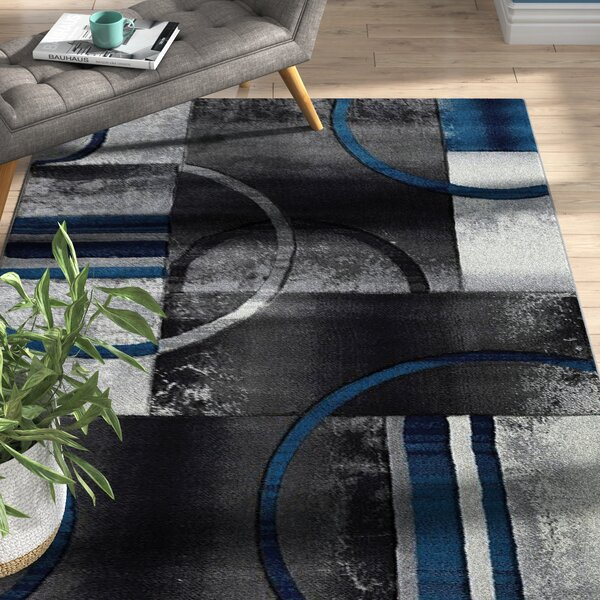 Collier Gray/Blue Area Rug by Ebern Designs