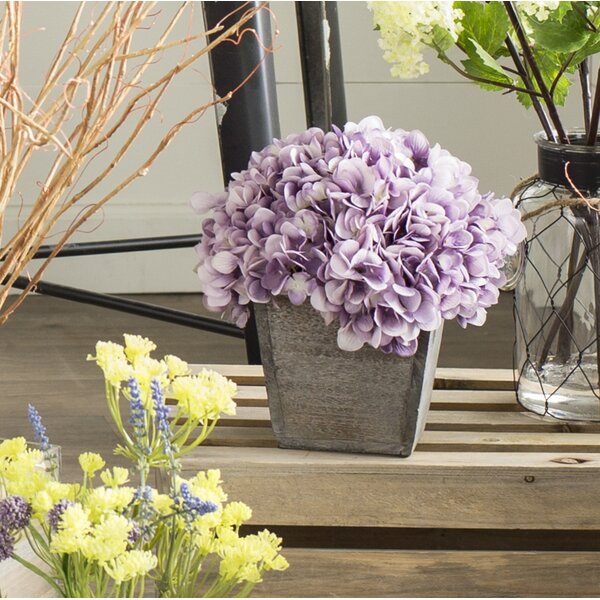 Artificial Hydrangea in Grey-Washed Wood Cube by A