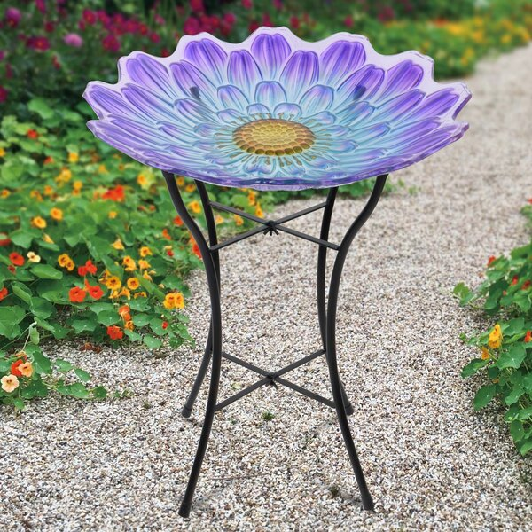 18 Outdoor Flower Glass Birdbath by Peaktop