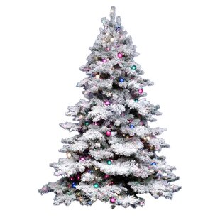 flocked alaskan 75 whitegreen pine trees artificial christmas tree with 900 incandescent multi colored lights with stand