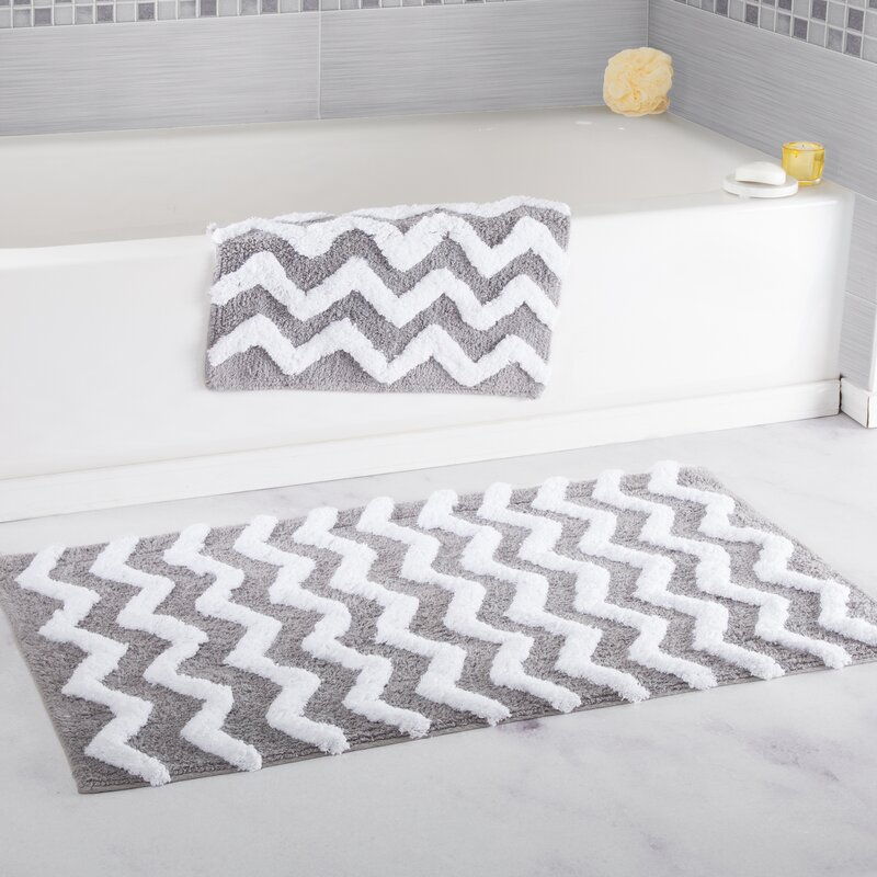 2 Piece Chevron Cotton Bath Mat Set