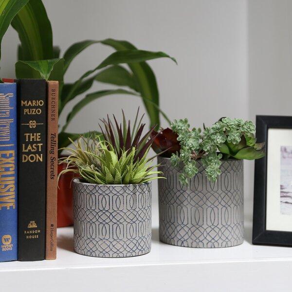 Dahmen Cylindrical 2 Piece Stone Pot Planter Set by George Oliver