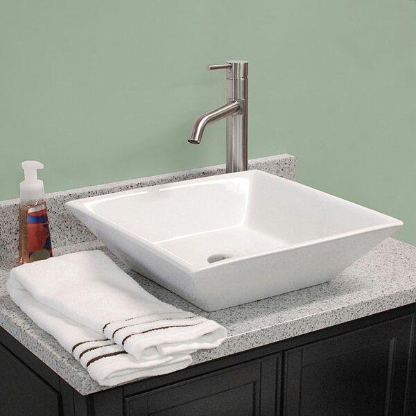 Ceramic Square Vessel Bathroom Sink by American Imaginations