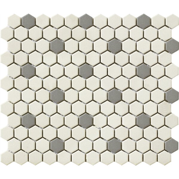 Urban 1 x 1 Porcelain Mosaic Tile in Off-White/Grey Hexagon by Walkon Tile