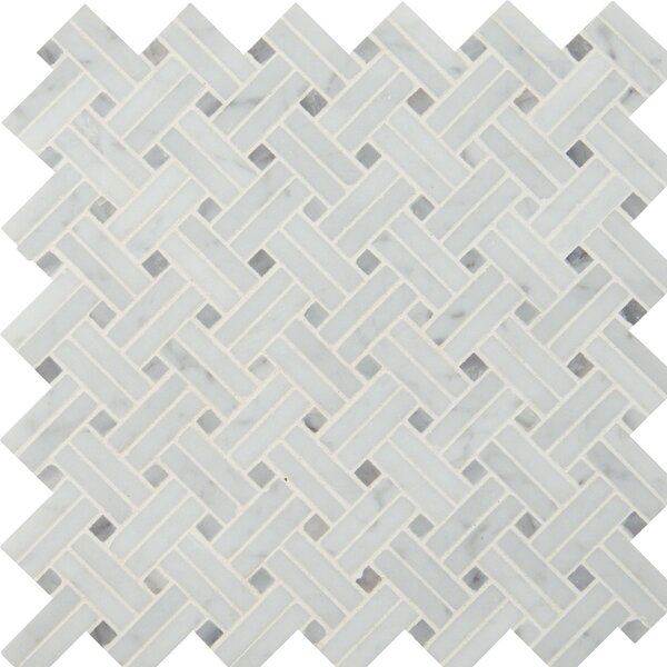 Basketweave Polished Marble Mosaic Tile in White by MSI