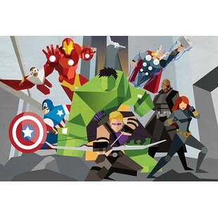 Marvel Comics Avengers Assmeble Geometric: Avengers Graphic Art On Canvas