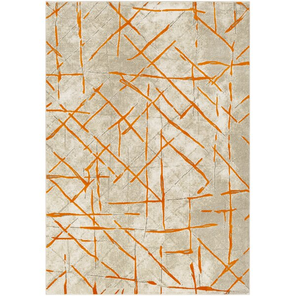 Ferrin Burnt Orange/Gray Area Rug by Wrought Studio