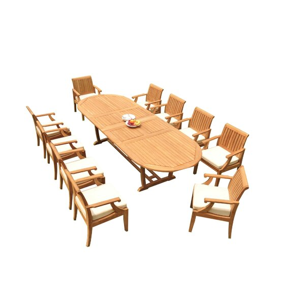 Fortuna 11 Piece Teak Dining Set by Rosecliff Heights