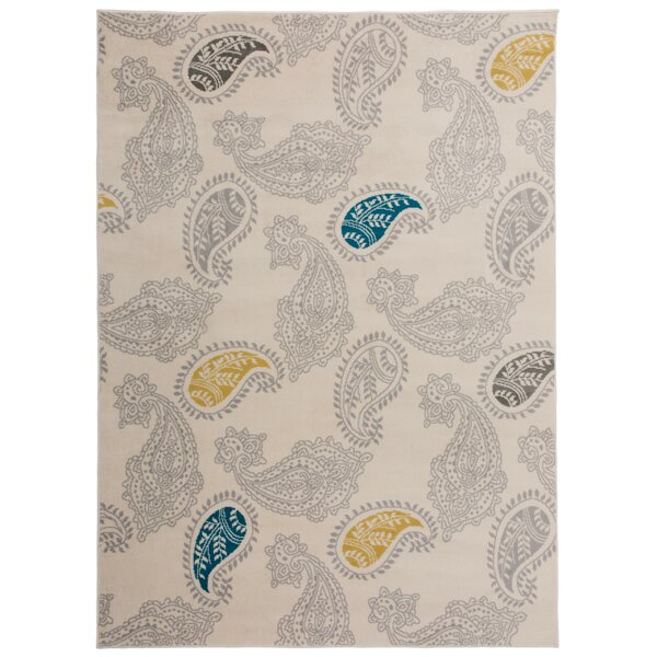 Eason Contemporary Modern Floral Paisley Pattern Cream Area Rug by Bungalow Rose