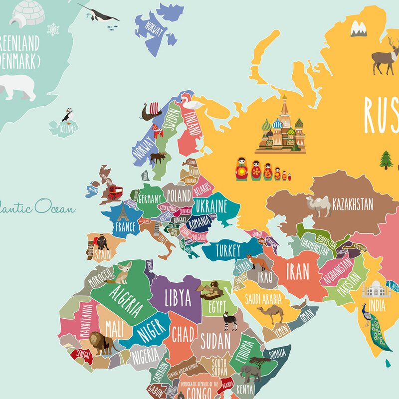 countries of the world map poster wall decal