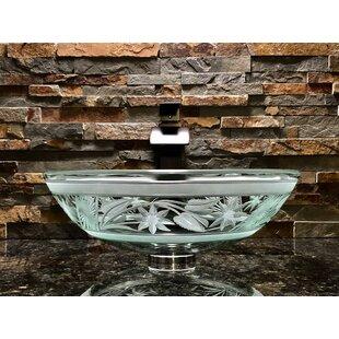 Affordable Flower Glass Circular Vessel Bathroom Sink ByElegant Glass Engraving Studio