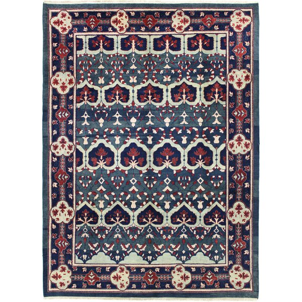 One-of-a-Kind Dowling Vegt Dye Hand-Woven Wool Green/Navy Area Rug by Canora Grey