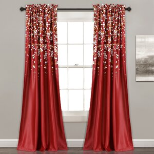 Heidelberg Nature/Floral Room Darkening Rod Pocket Curtain Panels (Set of 2)