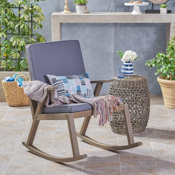 Spencer Outdoor Rocking Chair with Cushions by Gracie Oaks