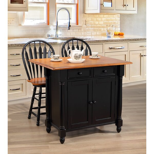 Azriel Drop Leaf Kitchen Island Set by Loon Peak
