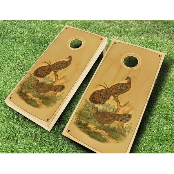 Retro Stained Pleasant Pheasant Cornhole Set by AJJ Cornhole