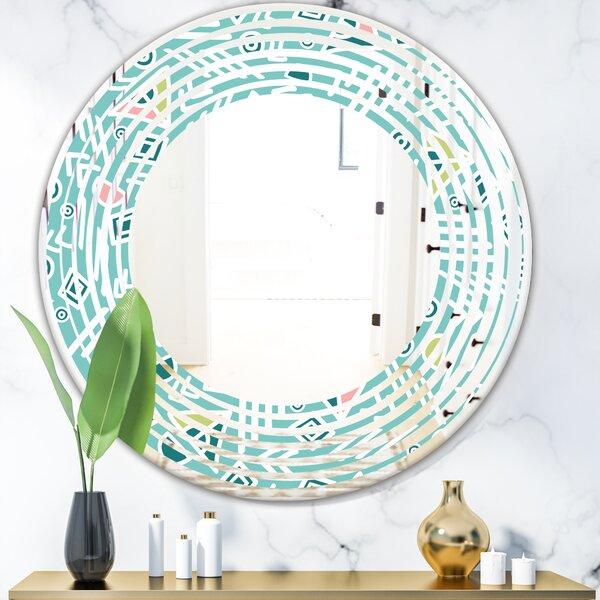 Wave Pastel Tribal Pattern Modern Frameless Wall Mirror
