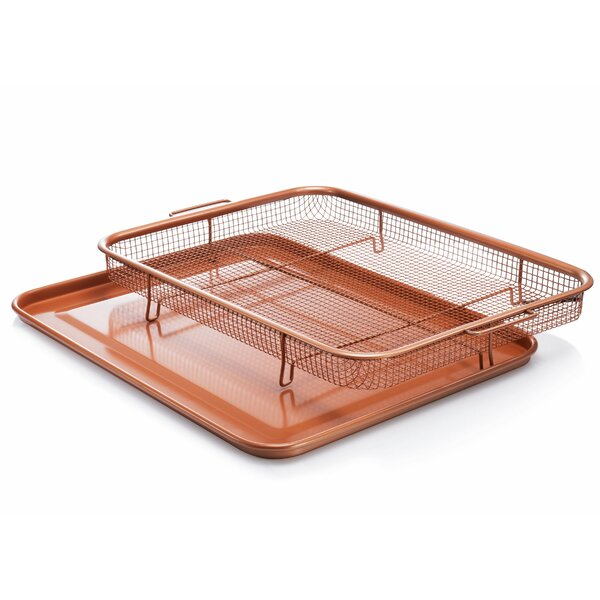 2 Piece Non-stick XXL Copper Crisper Tray and Basket Set by Gotham Steel