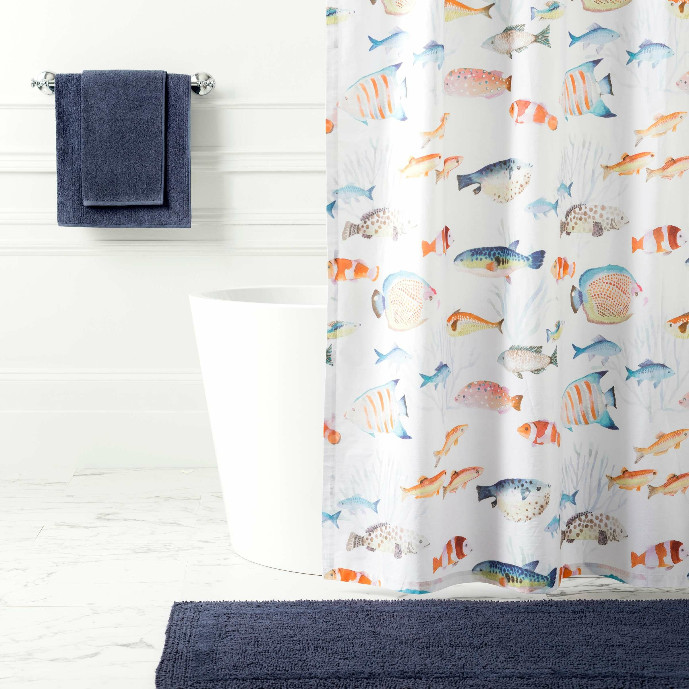 Happy Fish 100 Cotton Single Shower Curtain Hooks