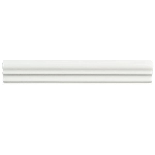 Blanque 1.25 x 7.88 Ceramic Chair Rail Tile in Brillo Zen White (Set of 10) by EliteTile