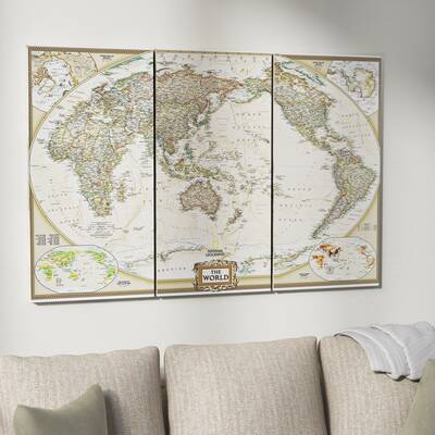b04b4c69811  National Geographic World Map  Graphic Art Print Multi-Piece Image on Wrapped  Canvas.